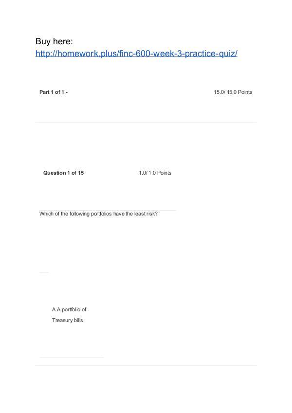 FINC 600 Week 3 Practice Quiz APU
