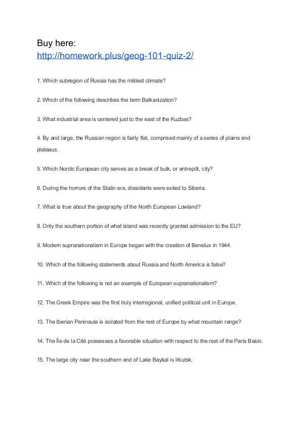 GEOG 101 Quiz 2 APU