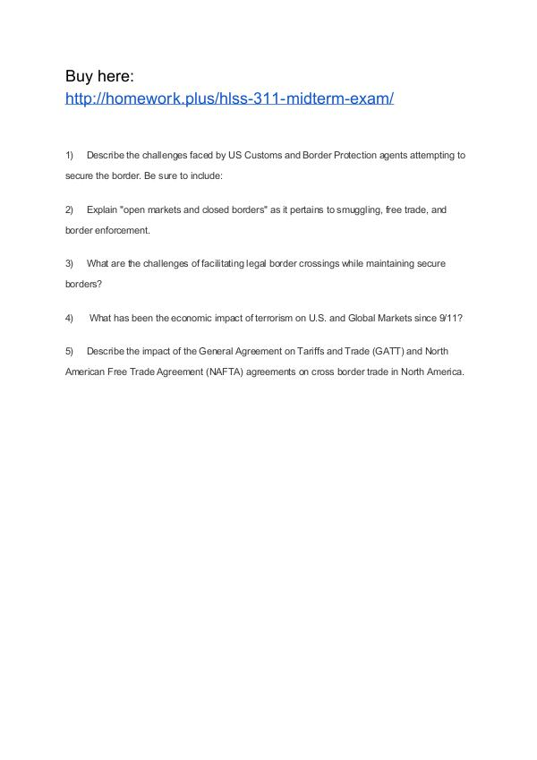 HLSS 311 Midterm Exam APU