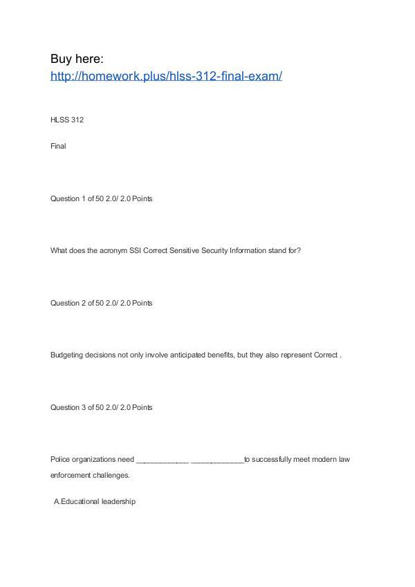 HLSS 312 Final Exam APU