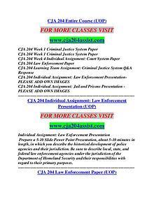CJA 204 ASSIST Career Begins/cja204assist.com