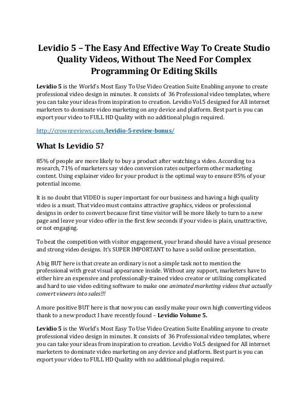 Levidio 5 Review & HUGE $23800 Bonuses Levidio 5 review demo & BIG bonuses pack