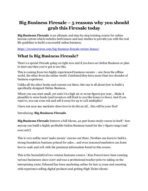 Big Business Firesale Review & GIANT Bonus Big Business Firesale Review