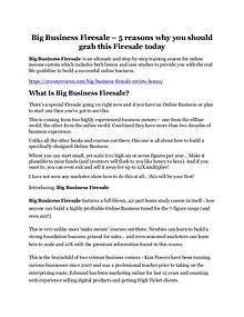 Big Business Firesale Review & GIANT Bonus