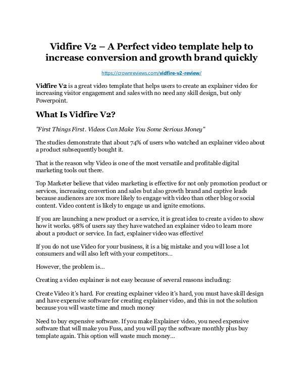 Vidfire V2 review and $26,900 bonus - AWESOME! Vidfire V2 review and (COOL) $32400 bonuses