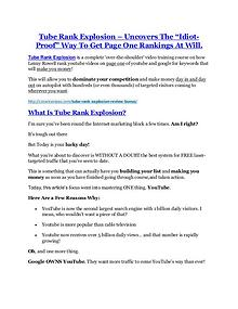 Tube Rank Explosion reviews and bonuses Tube Rank Explosion Tube Rank Explosion Review & (BIGGEST) jaw-drop bonuses