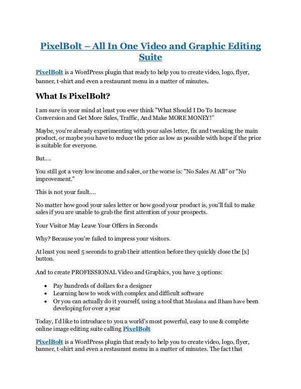PixelBolt review - PixelBolt (MEGA) $23,800 bonuses PixelBolt Review - PixelBolt +100 bonus items