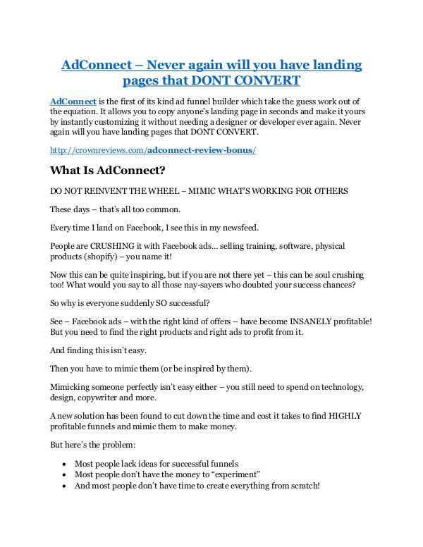 AdConnect Review and GIANT $12700 Bonus-80% Discount AdConnect review - I was shocked!