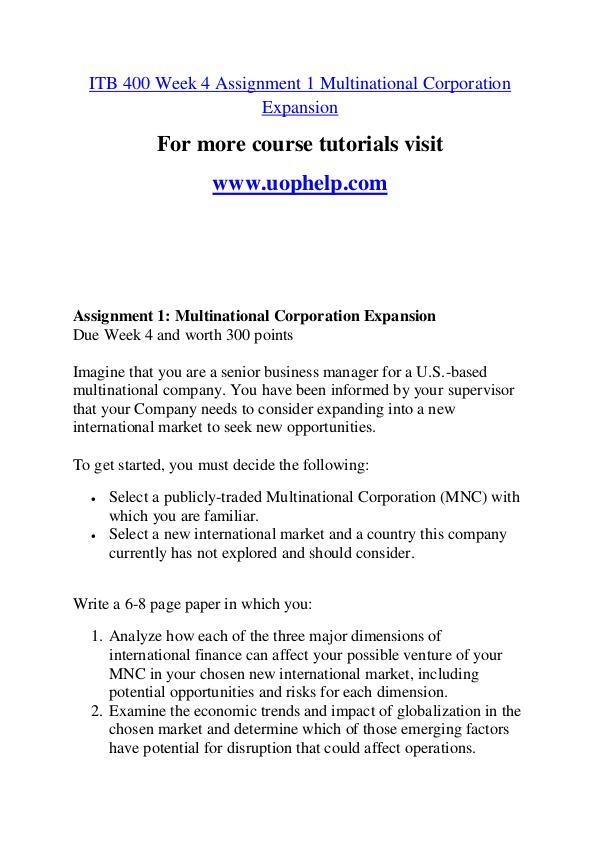 ITB 400 Education Begins/uophelp.com ITB 400 Education Begins/uophelp.com