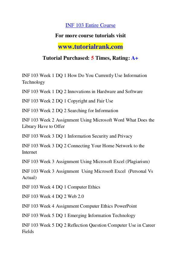 INF 103 Course Great Wisdom / tutorialrank.com INF 103 Course Great Wisdom / tutorialrank.com