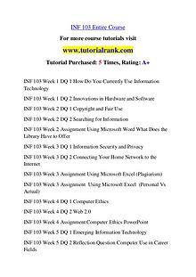 INF 103 Course Great Wisdom / tutorialrank.com