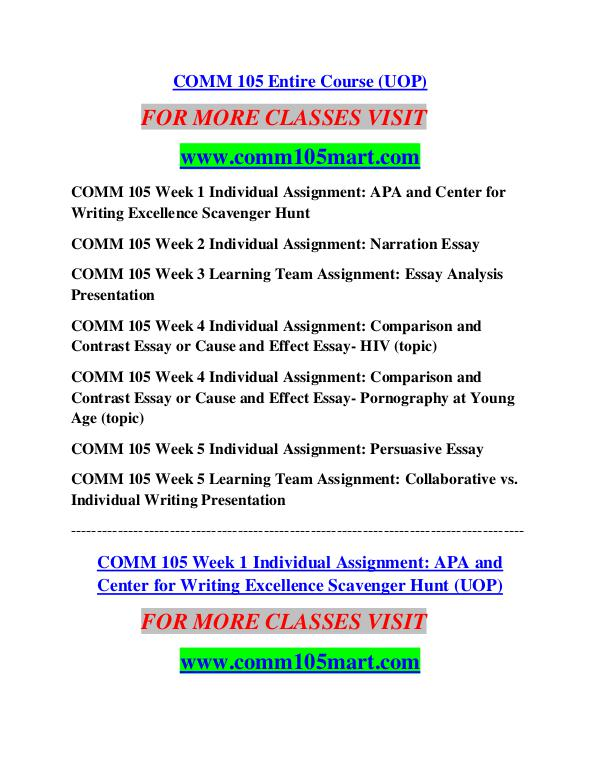comm 315 week 4 individual assignment Study flashcards on comm 315 week 3 personal action plan at cramcom quickly memorize the terms, phrases and much more cramcom makes it easy to get the grade you want.