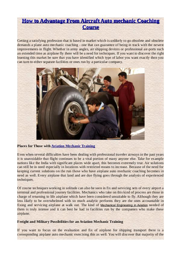 How to Advantage From Aircraft Auto mechanic Coaching Course How to Advantage From Aircraft Auto mechanic Coach