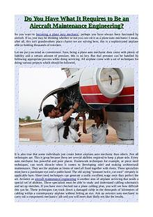 Do You Have What It Requires to Be an Aircraft Maintenance Engineerin