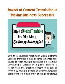 Impact of Content Translation in Making Business Successful