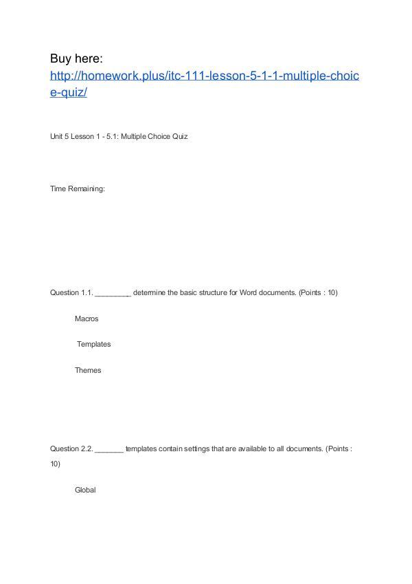 ITC 111 Lesson 5-1.1 Multiple Choice Quiz APU