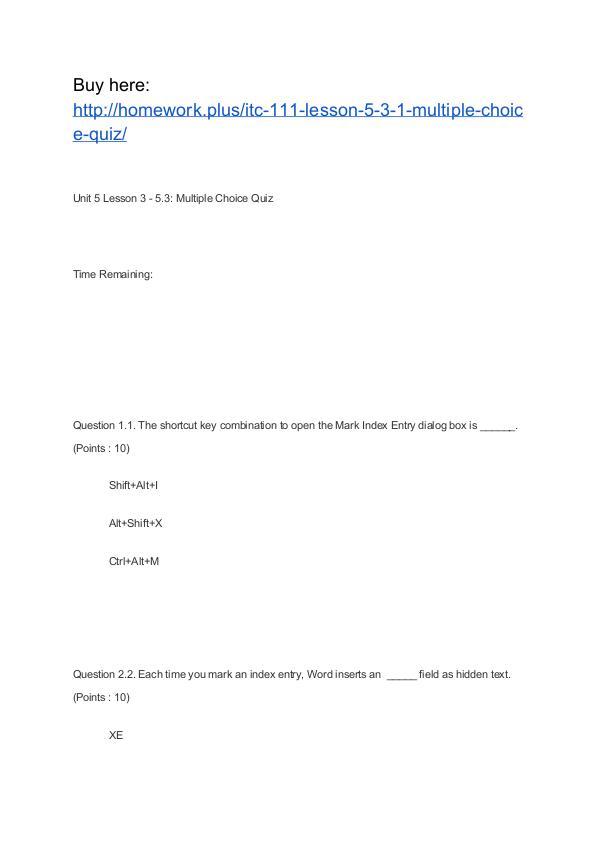ITC 111 Lesson 5-3.1 Multiple Choice Quiz APU