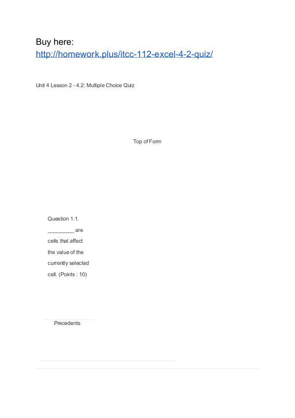 ITCC 112 Excel 4.2 Quiz APU