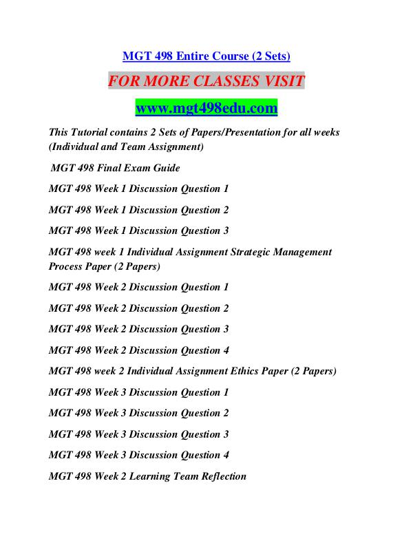 mgt 498 week 3 discussion questions