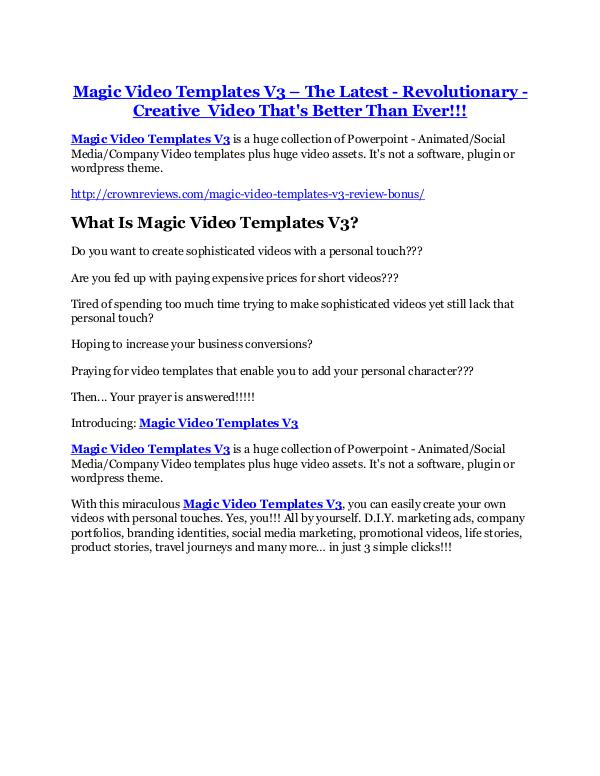 Magic Video Templates V3 TRUTH review and EXCLUSIVE $25000 BONUS Magic Video Templates V3 Review and (MASSIVE) $23,