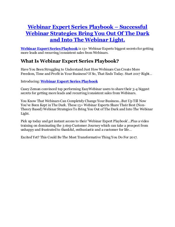 Webinar Expert Series Playbook review and Exclusive $26,400 Bonus Webinar Expert Series Playbook review