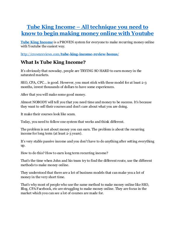 Tube King Income review & bonus - I was Shocked! Tube King Income Review & (BIGGEST) jaw-drop bonuses
