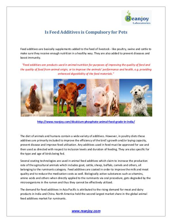Is Feed Additives is Compulsory for Pets Is Feed Additives is Compulsory for Pets