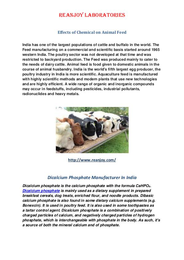 Effects of Chemical on Animal Feed Effects of Chemical on Animal Feed