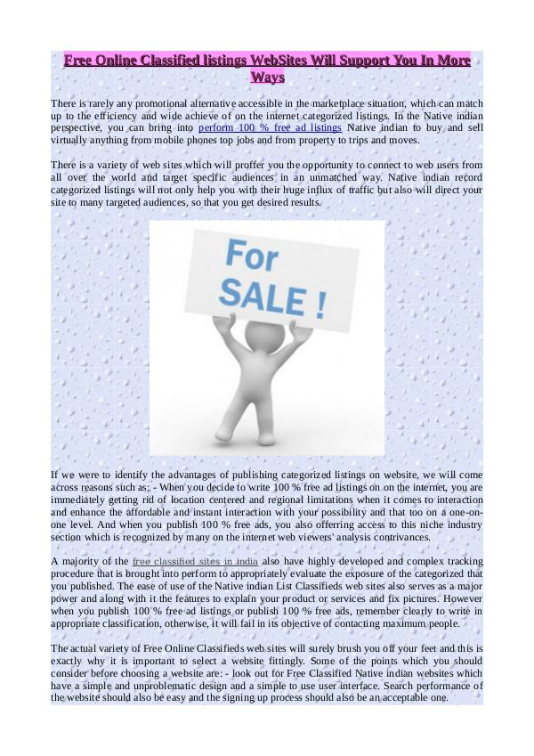 Free Online Classified listings WebSites Will Support You In More Way Free Online Classified listings WebSites Will Supp