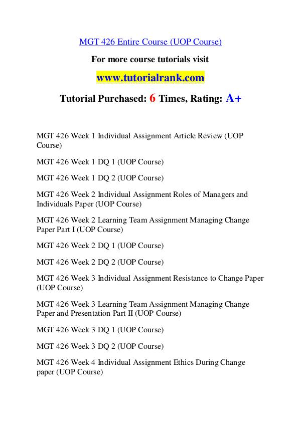 mgt 426 Home » mgt 426 week 1 individual assignment article review (uop course) mgt 426 week 1 individual assignment article review (uop course) this tutorial was.