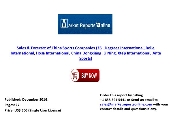 China Sports Companies Sales & Forecast ( 2010- 2020) Dec 2016