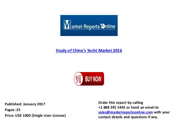 2016: Study of China's Yacht Industry Jan 2017