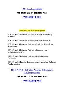 HCS 539 Endless Education /uophelp.com