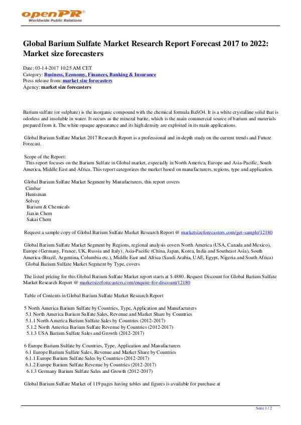 Global Barium Sulfate Market Report Competition by Manufacturers Global Barium Sulfate Market
