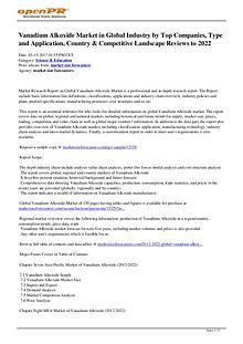 Vanadium Alkoxide Market in Global Industry by Top Companies