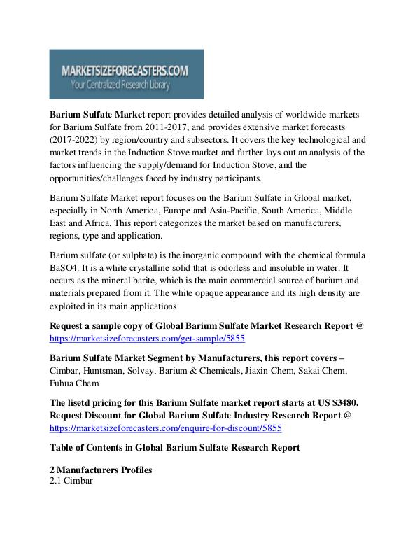 Global Barium Sulfate Market by Manufacturers, Countries 2022 Barium Sulfate Market