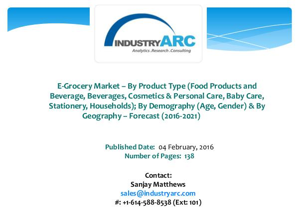 E-Grocery Market Expects Asia-Pacific Region to be a Key Future Gr E-Grocery Market
