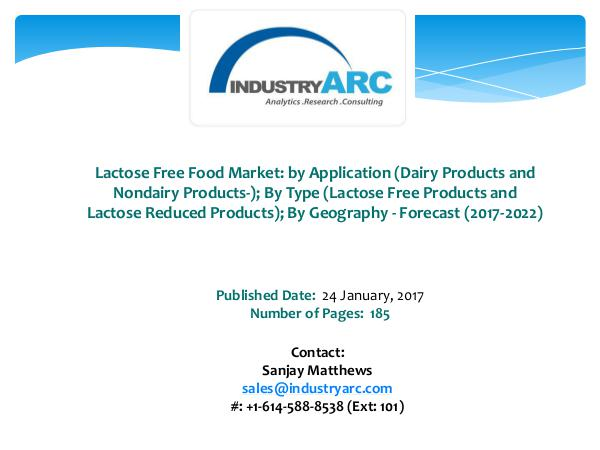 Lactose Free Food Market Boosted by Danone's Launch of Lactose-Fre Lactose Free Food Market
