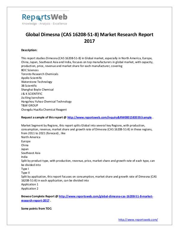 Market Analysis Global Dimesna (CAS 16208-51-8) Market 2022