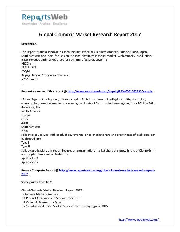 Market Analysis 2017 Analysis: Clomoxir Market Report