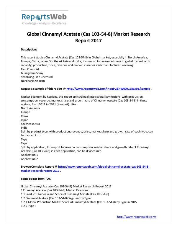 Global Cinnamyl Acetate (Cas 103-54-8) Market