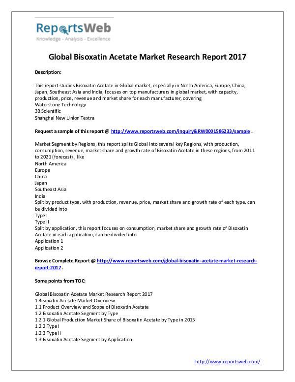 Bisoxatin Acetate Market 2022 Forecast Report