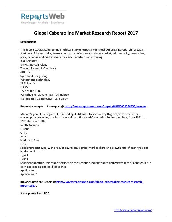 2017 Study - Global Cabergoline Market