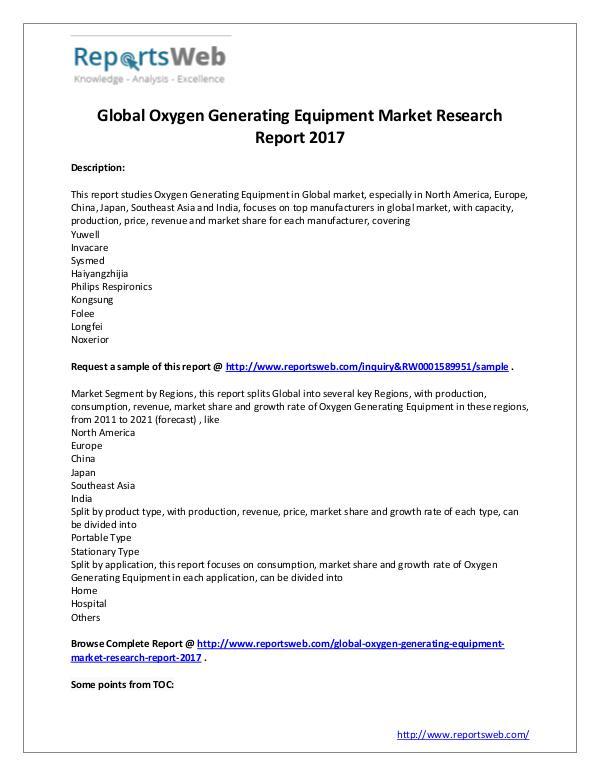 Oxygen Generating Equipment Market Growth 2017