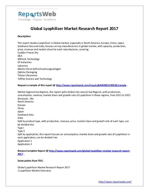 New Study: 2017 Global Lyophilizer Market