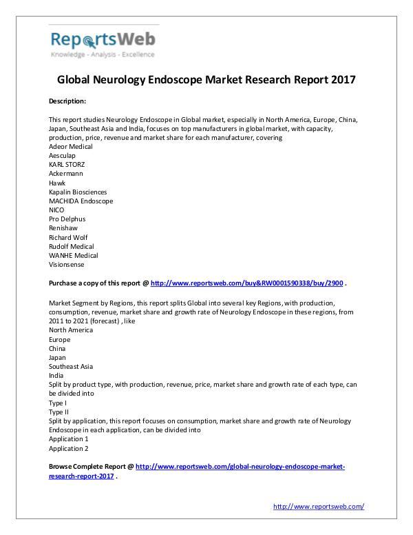New Study: 2017 Global Neurology Endoscope Market