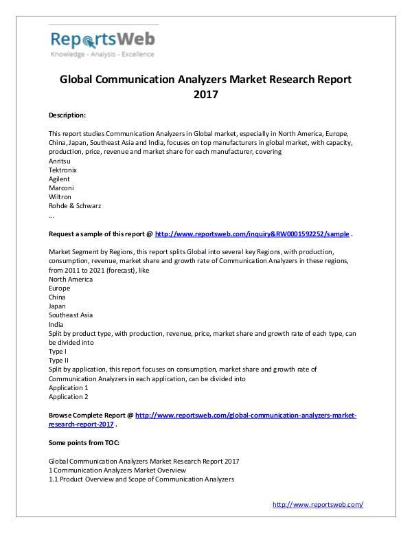 2017 Communication Analyzers Market