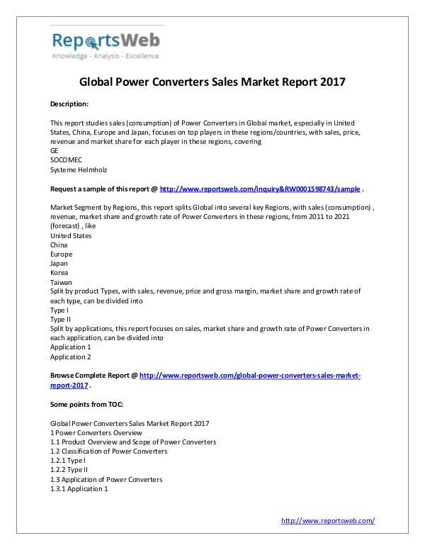 Market Analysis New Study: Global Power Converters Sales Market