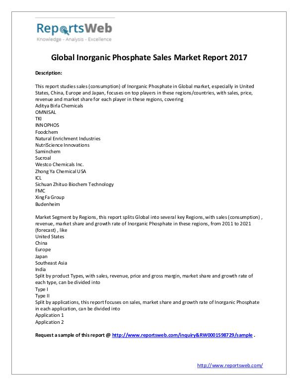Market Analysis Inorganic Phosphate Sales Market - Global Research