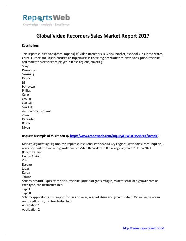 Market Analysis 2017 Global Video Recorders Sales Market Outlook